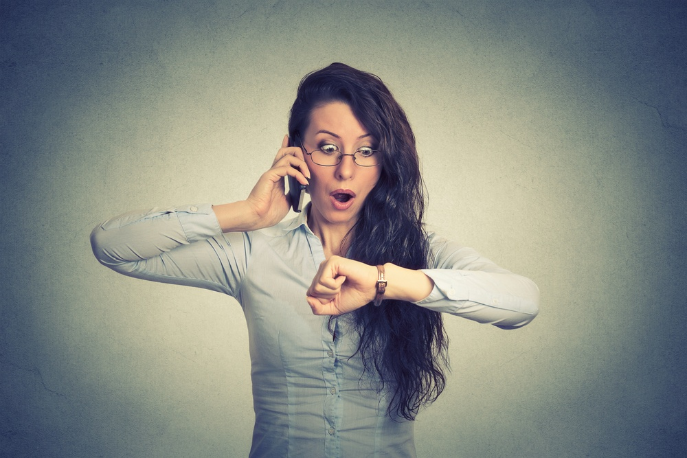 Business woman running late demonstrating time management as part of soft skills training program